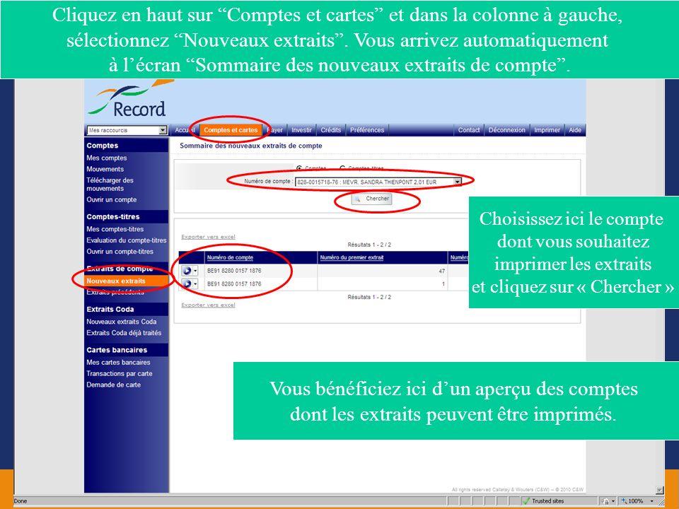 Cliquez en haut sur Comptes et cartes et dans la colonne à gauche, sélectionnez Nouveaux extraits . Vous arrivez automatiquement à l'écran Sommaire des nouveaux extraits de compte .