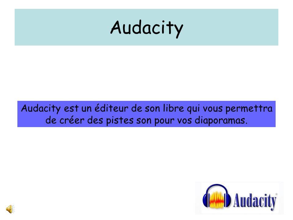 Audacity Audacity est un éditeur de son libre qui vous permettra de créer des pistes son pour vos diaporamas.