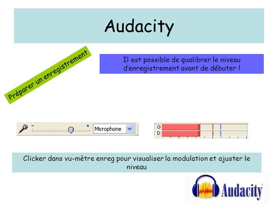 Audacity Il est possible de qualibrer le niveau d'enregistrement avant de débuter ! Préparer un enregistrement.