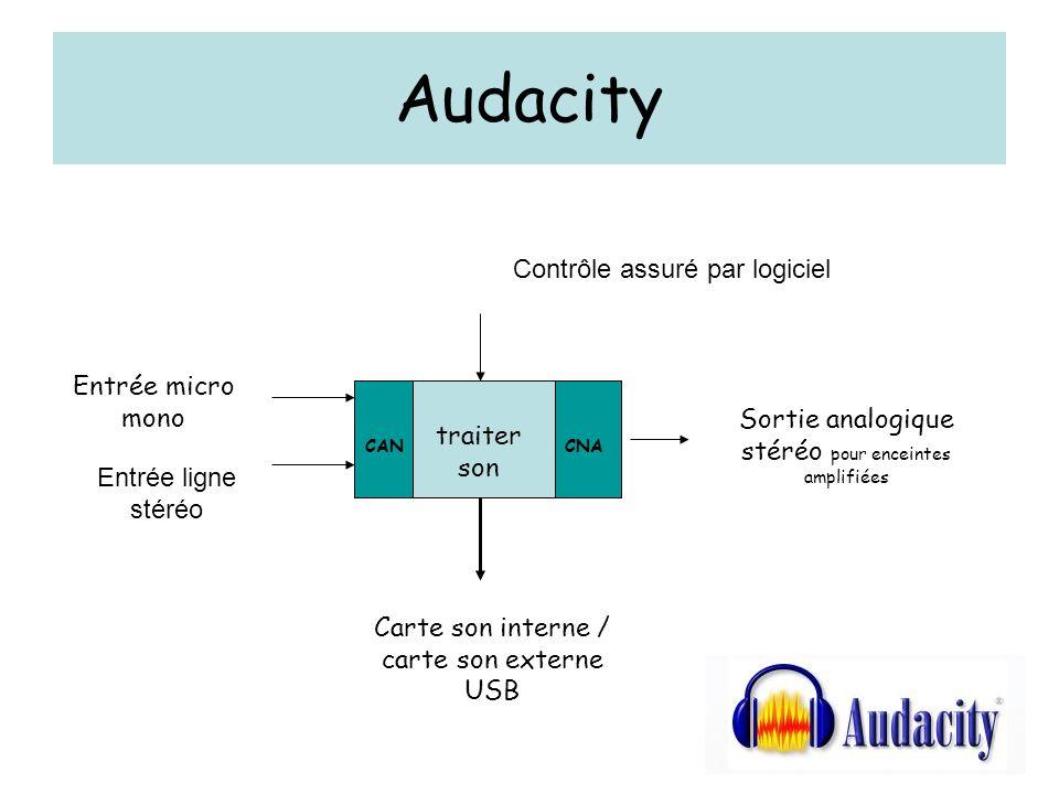 Audacity Contrôle assuré par logiciel Entrée micro mono