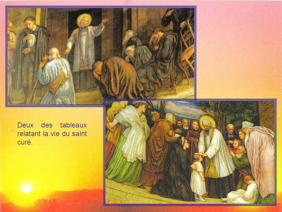 Deux des tableaux relatant la vie du saint curé.