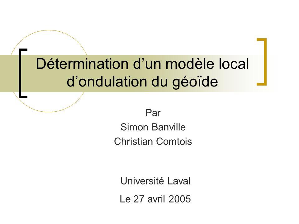 Détermination d'un modèle local d'ondulation du géoïde