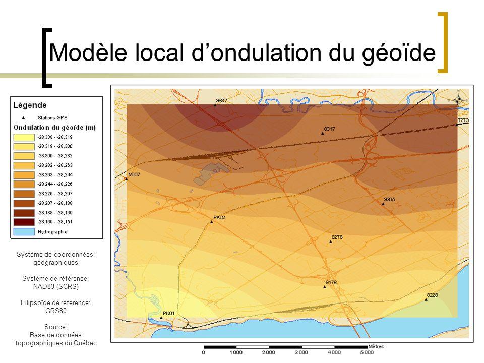 Modèle local d'ondulation du géoïde