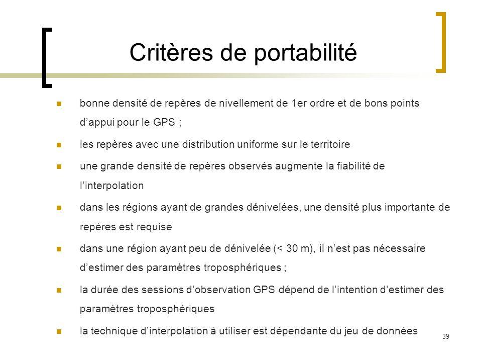 Critères de portabilité