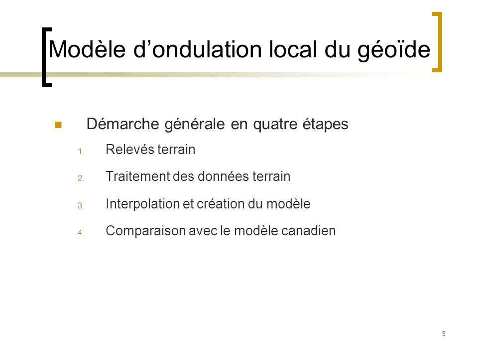 Modèle d'ondulation local du géoïde