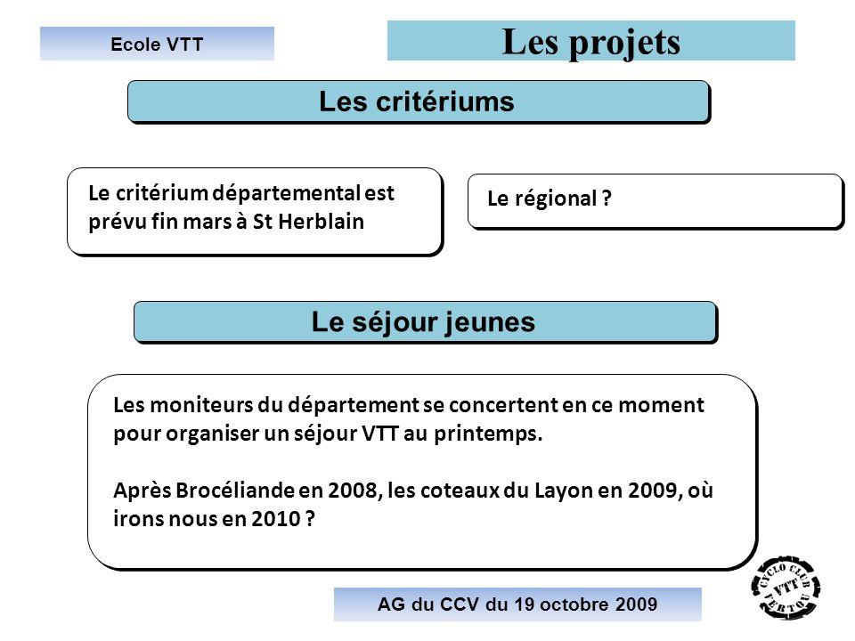 Les projets Les critériums Le séjour jeunes