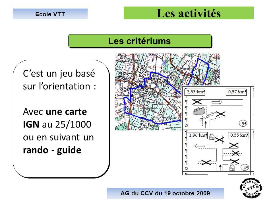 Les activités C'est un jeu basé sur l'orientation :