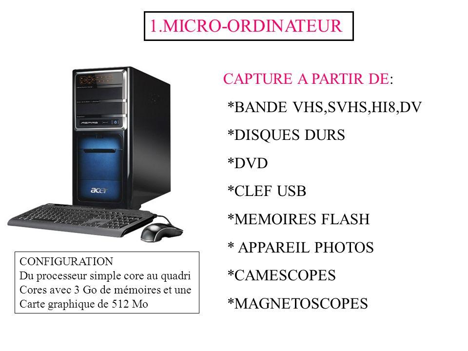 1.MICRO-ORDINATEUR CAPTURE A PARTIR DE: *BANDE VHS,SVHS,HI8,DV