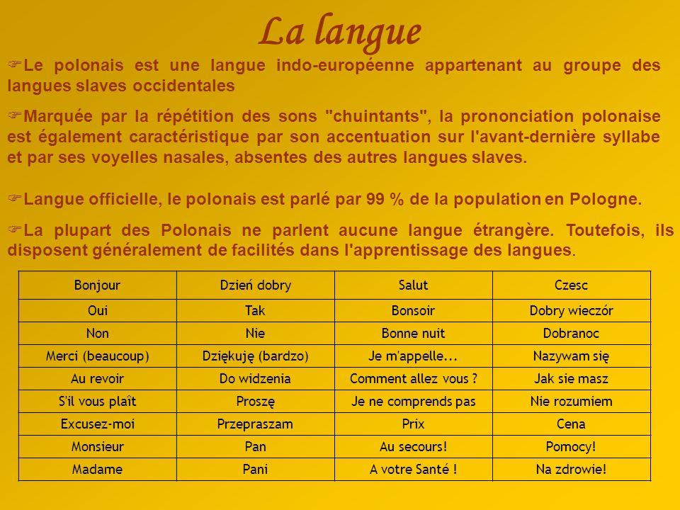 La langue Le polonais est une langue indo-européenne appartenant au groupe des langues slaves occidentales.