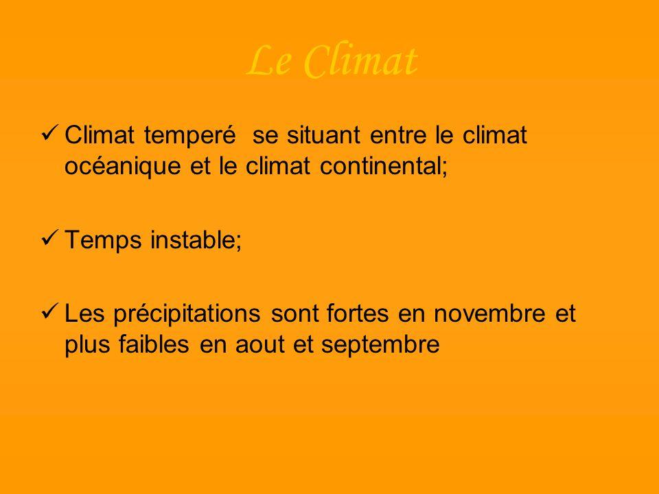 Le Climat Climat temperé se situant entre le climat océanique et le climat continental; Temps instable;