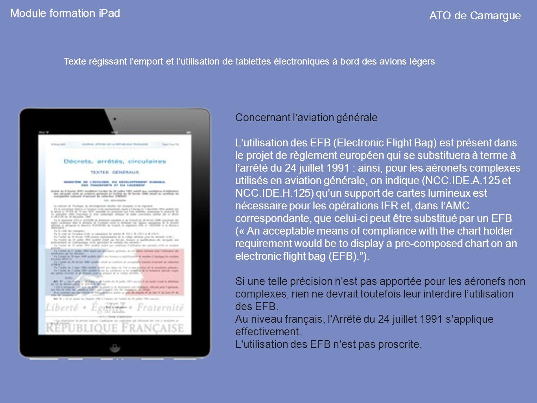 Module formation iPad ATO de Camargue Concernant l'aviation générale