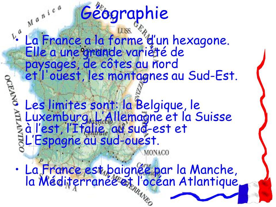 Géographie La France a la forme d'un hexagone. Elle a une grande variété de paysages, de côtes au nord et l ouest, les montagnes au Sud-Est.