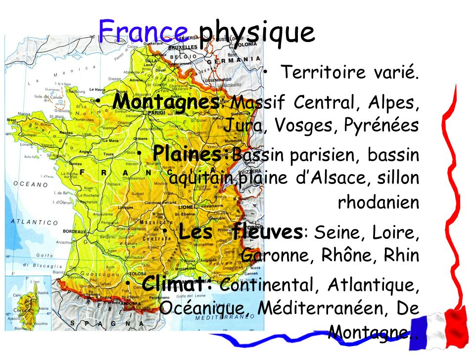 France physique Territoire varié. Montagnes: Massif Central, Alpes, Jura, Vosges, Pyrénées.