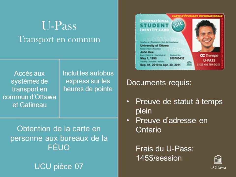 U-Pass Transport en commun Documents requis: