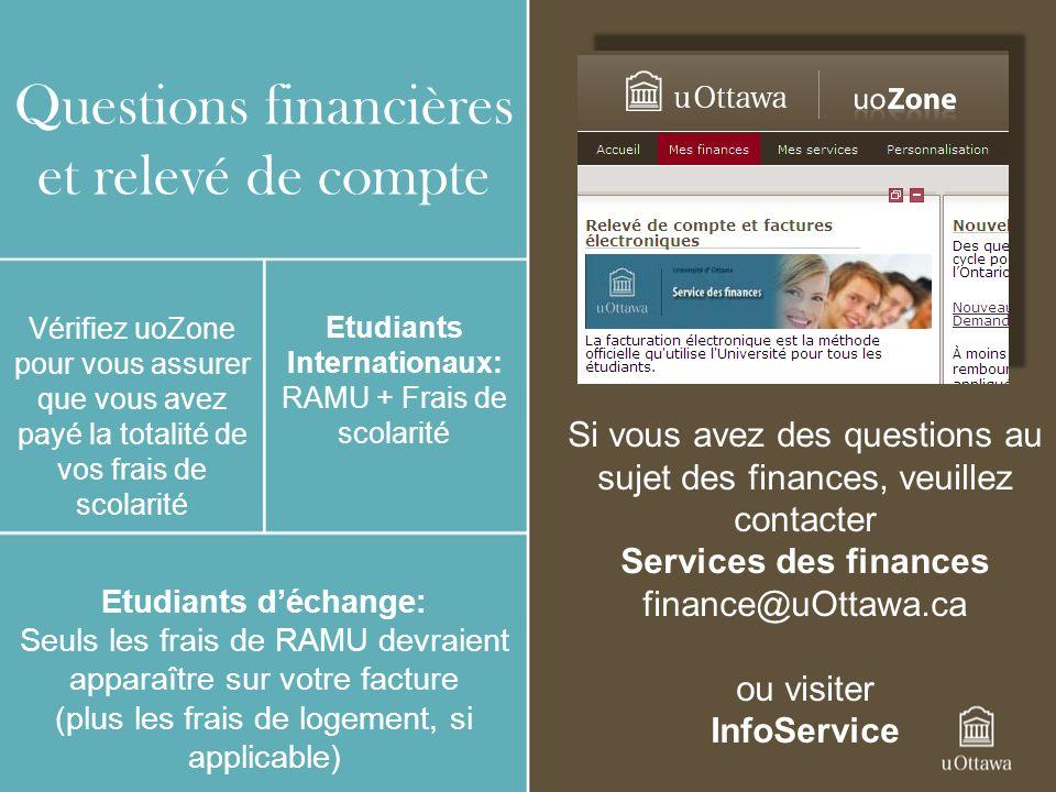Questions financières et relevé de compte