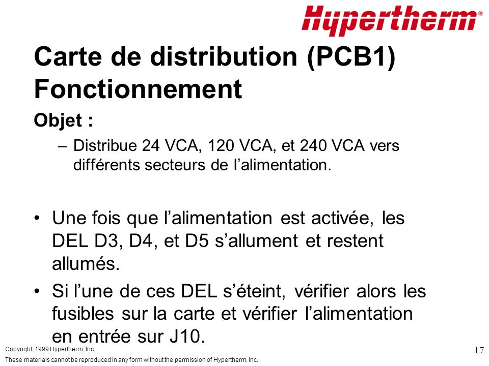 Carte de distribution (PCB1) Fonctionnement