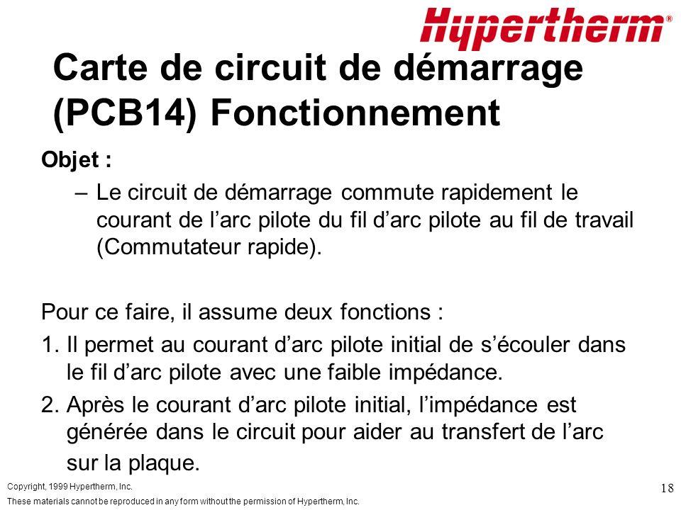 Carte de circuit de démarrage (PCB14) Fonctionnement