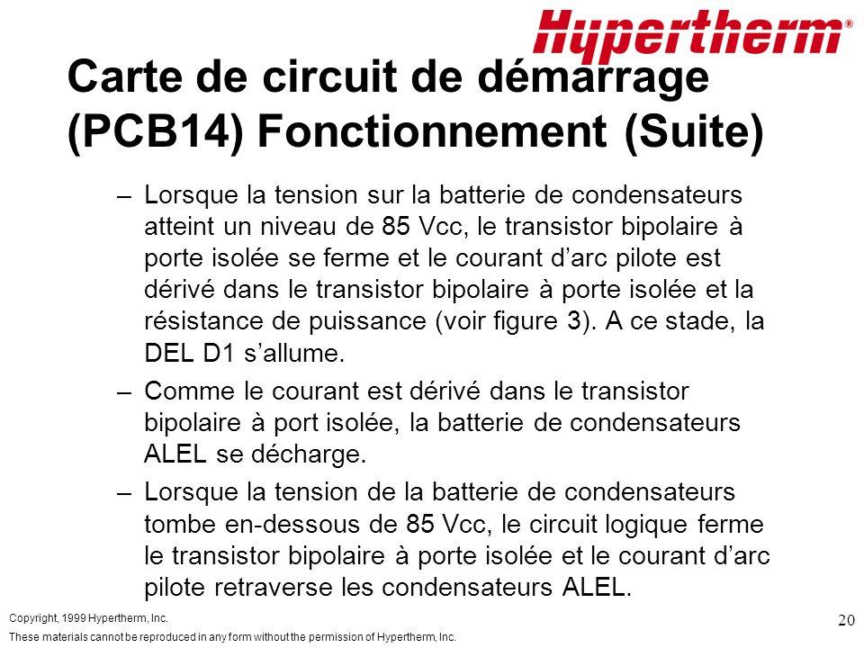 Carte de circuit de démarrage (PCB14) Fonctionnement (Suite)