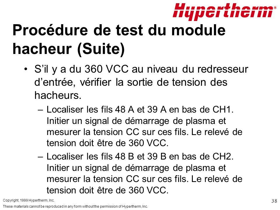 Procédure de test du module hacheur (Suite)
