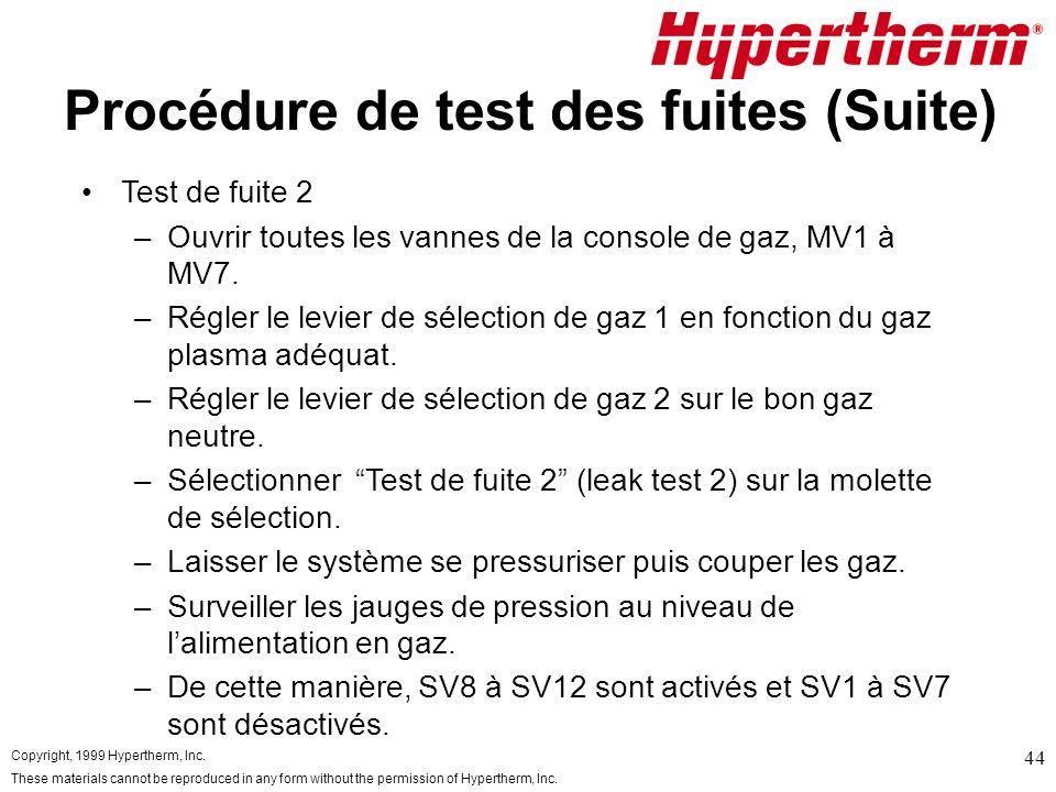 Procédure de test des fuites (Suite)