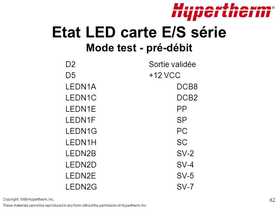 Etat LED carte E/S série Mode test - pré-débit