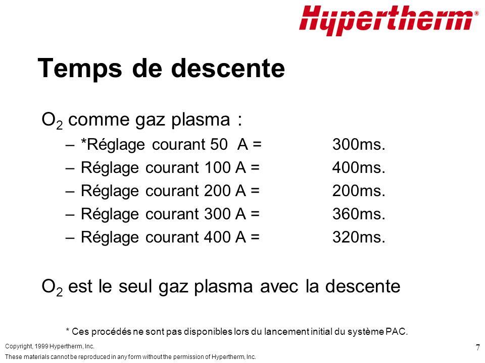 Temps de descente O2 comme gaz plasma :