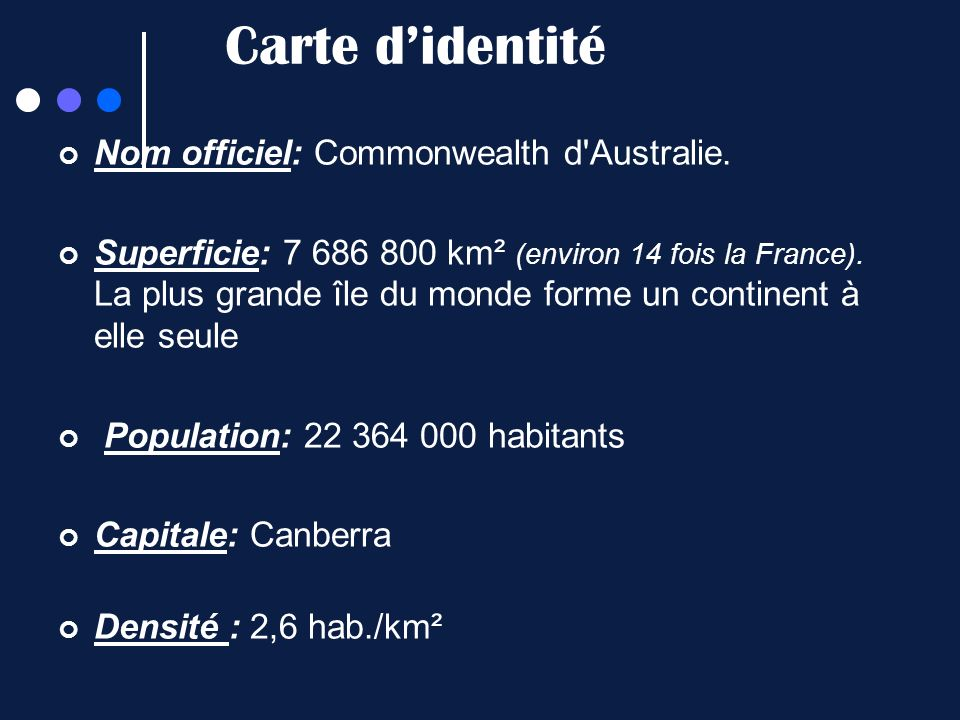 Carte d'identité Nom officiel: Commonwealth d Australie.