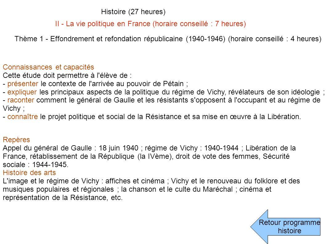 Histoire (27 heures) II - La vie politique en France (horaire conseillé : 7 heures)