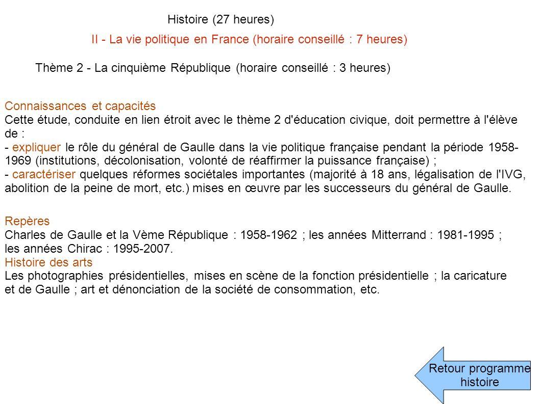 Histoire (27 heures) II - La vie politique en France (horaire conseillé : 7 heures) Thème 2 - La cinquième République (horaire conseillé : 3 heures)