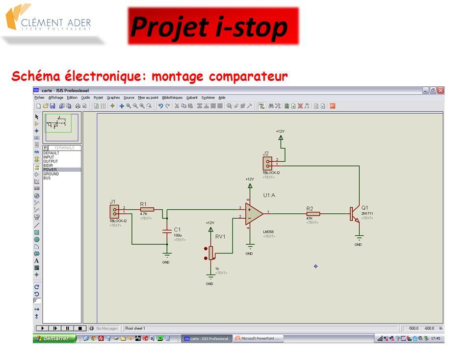 Projet i-stop Schéma électronique: montage comparateur