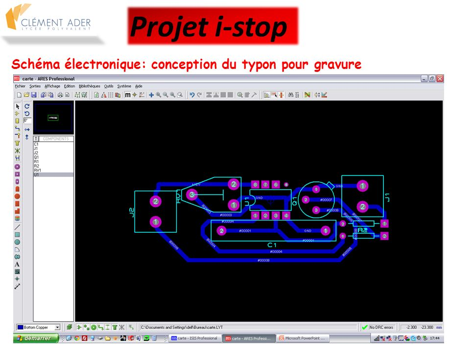 Projet i-stop Schéma électronique: conception du typon pour gravure