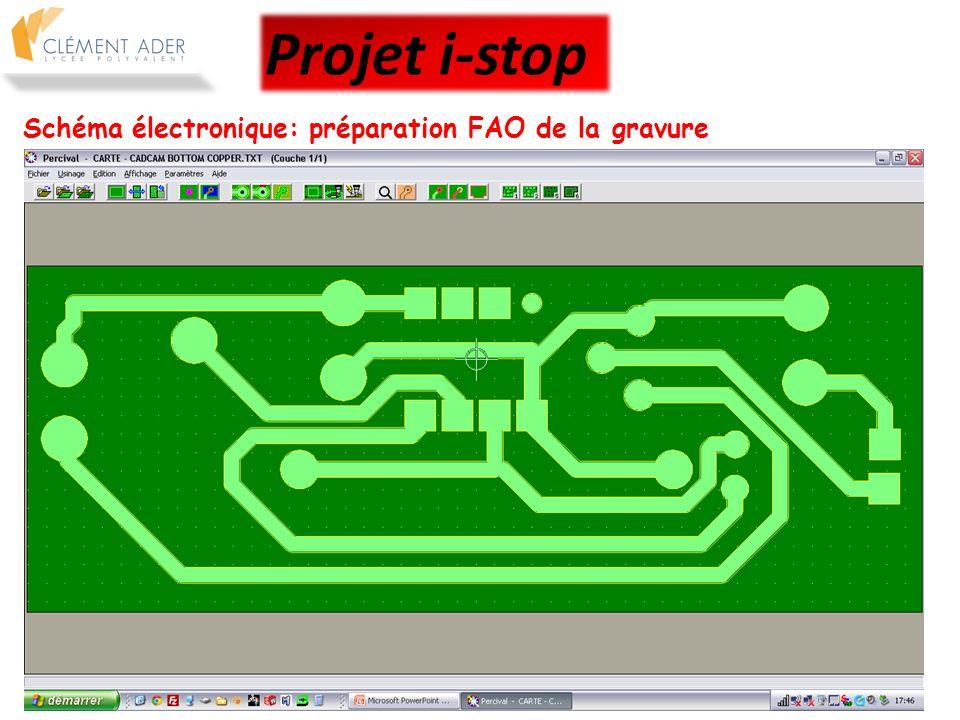 Projet i-stop Schéma électronique: préparation FAO de la gravure