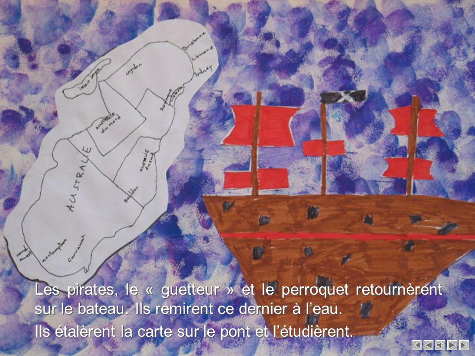 Les pirates, le « guetteur » et le perroquet retournèrent sur le bateau. Ils remirent ce dernier à l'eau.