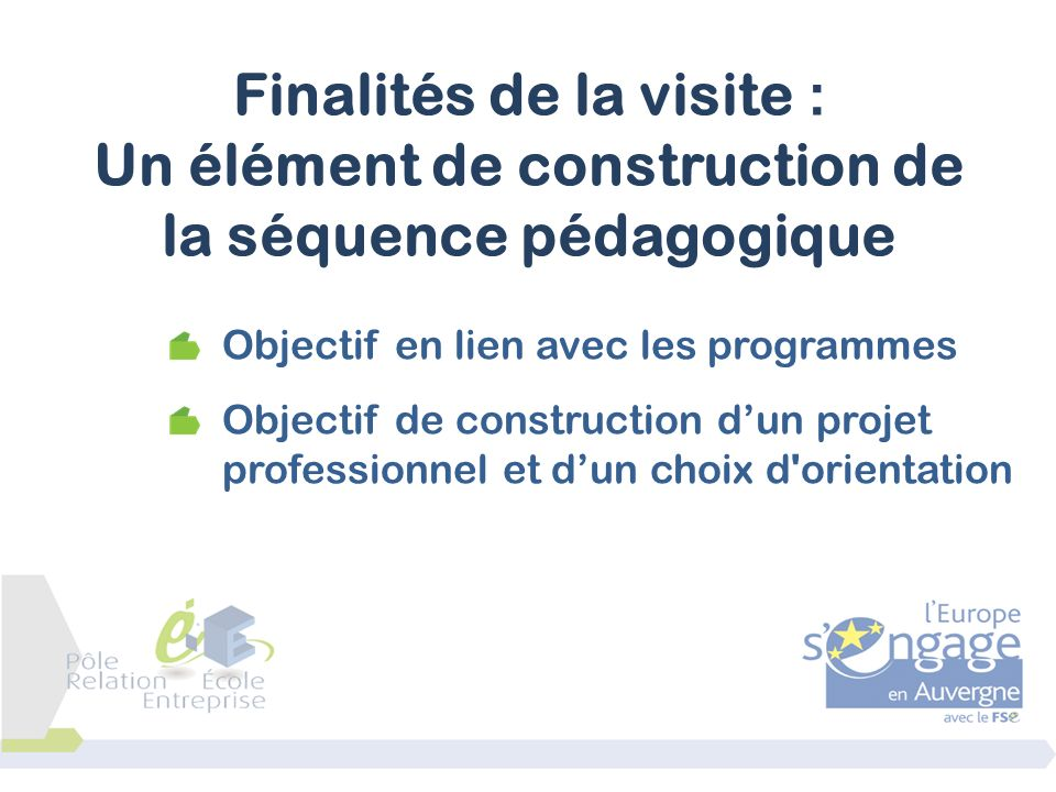 Finalités de la visite : Un élément de construction de la séquence pédagogique