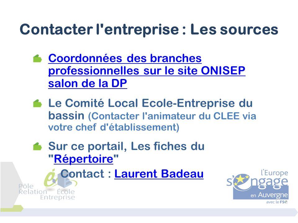 Contacter l entreprise : Les sources