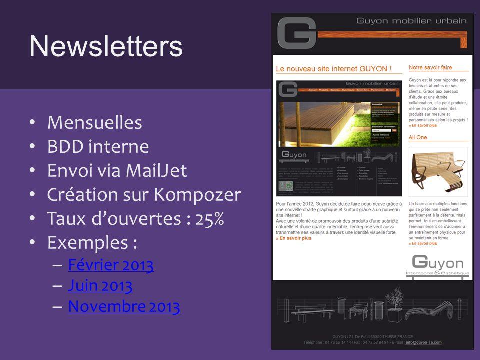Newsletters Mensuelles BDD interne Envoi via MailJet