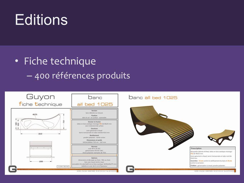 Editions Fiche technique 400 références produits