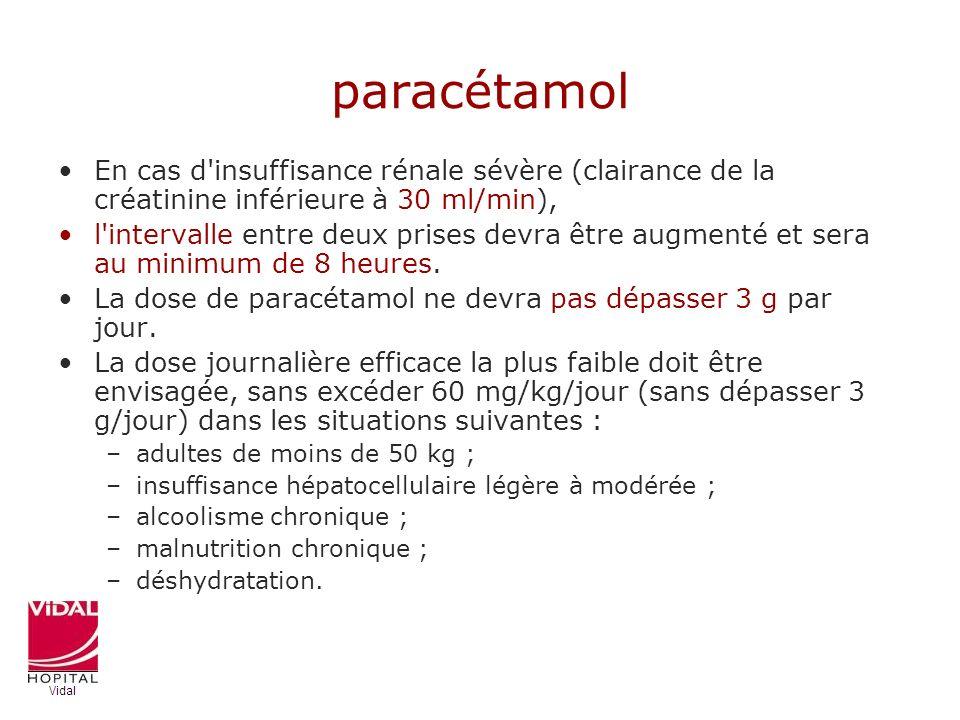 paracétamol En cas d insuffisance rénale sévère (clairance de la créatinine inférieure à 30 ml/min),