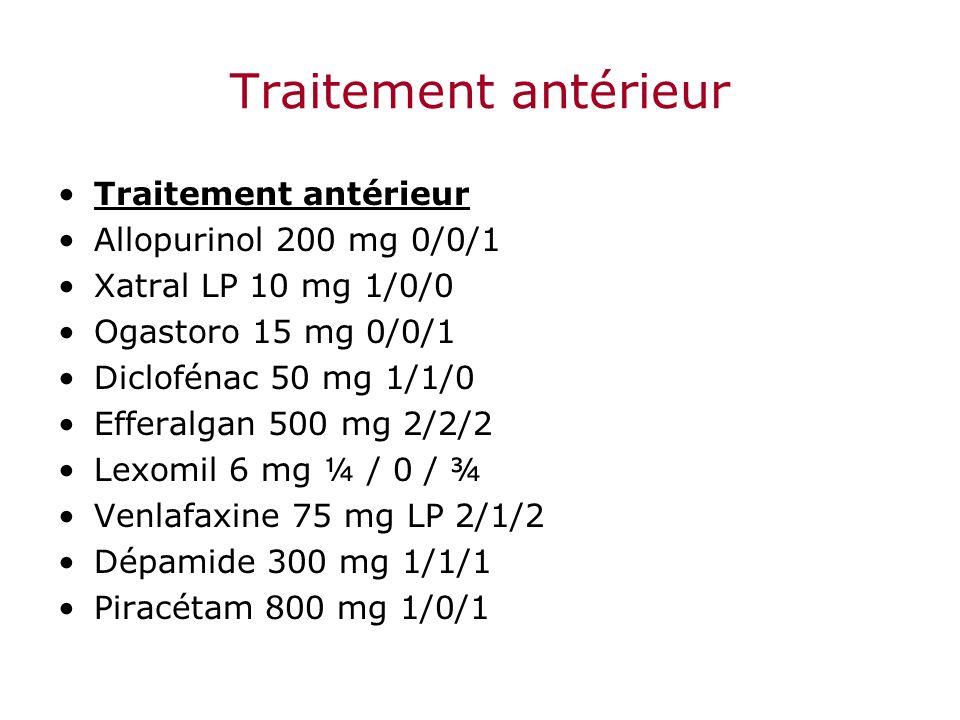Traitement antérieur Traitement antérieur Allopurinol 200 mg 0/0/1