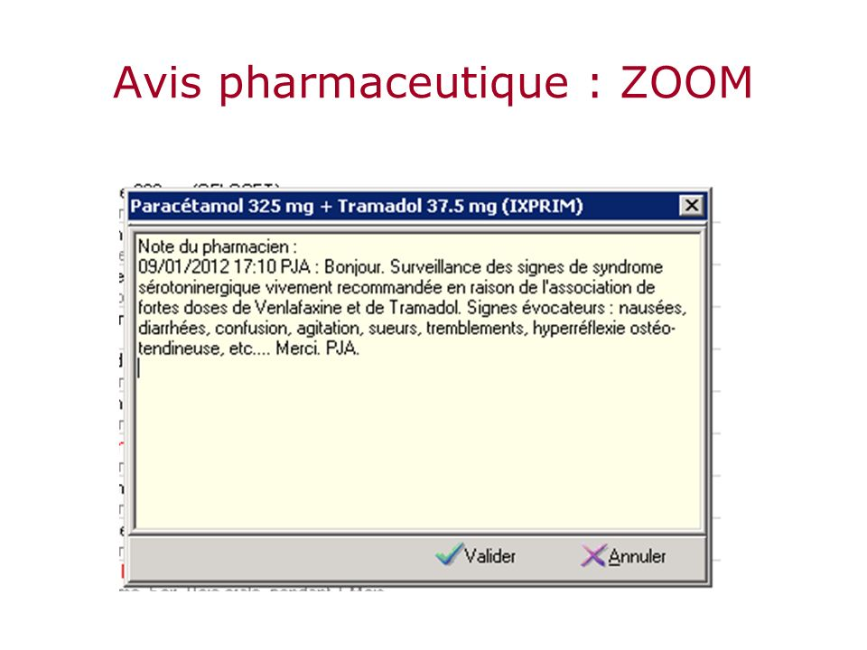Avis pharmaceutique : ZOOM