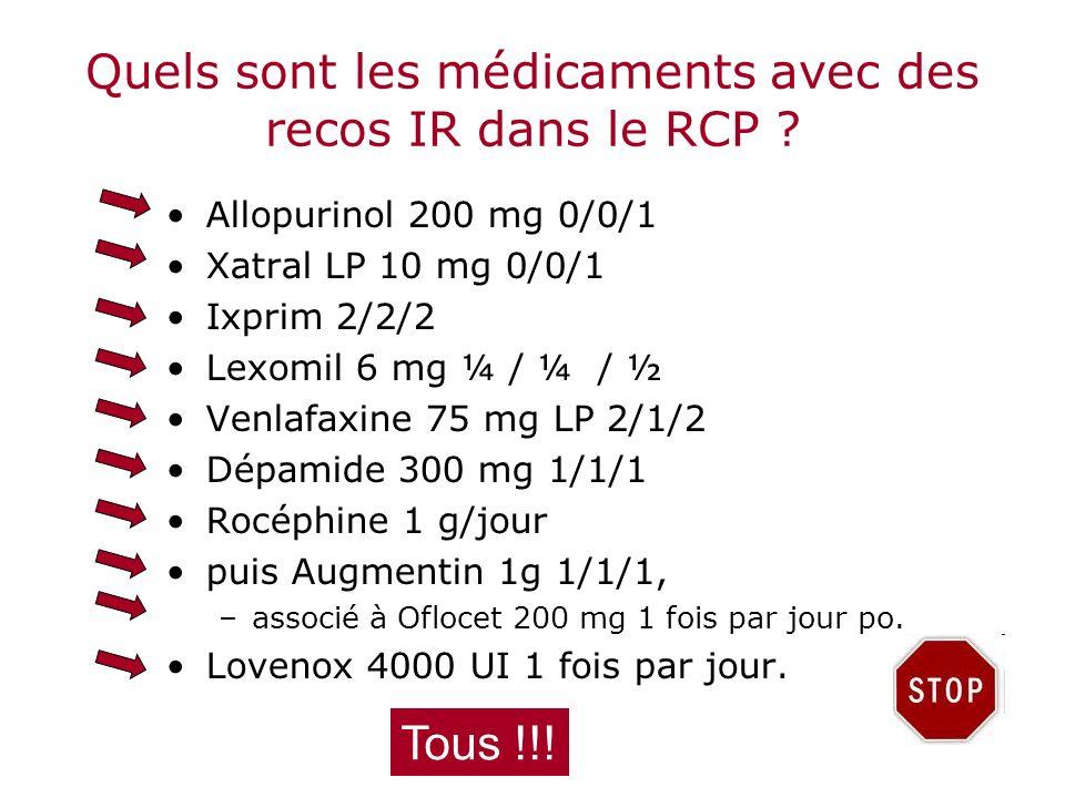 Quels sont les médicaments avec des recos IR dans le RCP