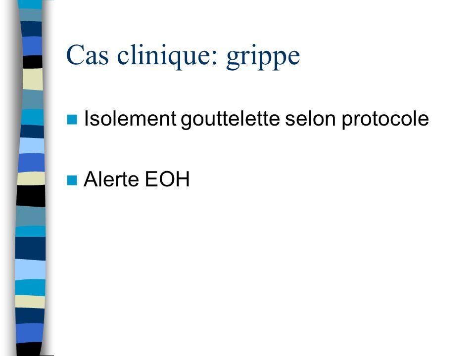 Cas clinique: grippe Isolement gouttelette selon protocole Alerte EOH