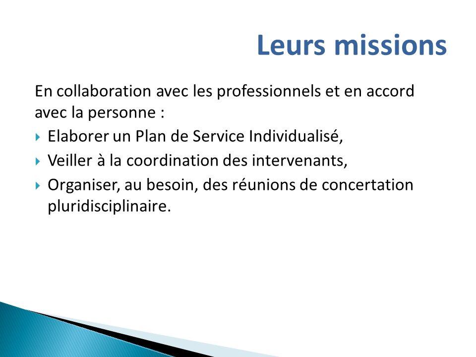 Leurs missions En collaboration avec les professionnels et en accord avec la personne : Elaborer un Plan de Service Individualisé,