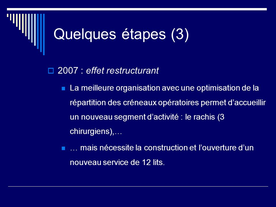 Quelques étapes (3) 2007 : effet restructurant