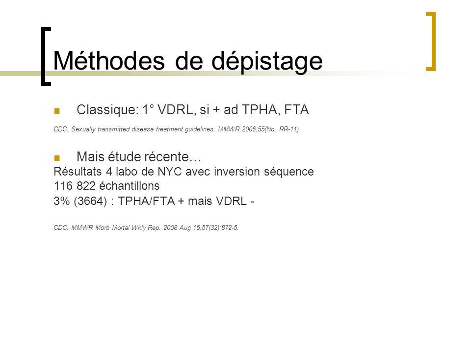 Méthodes de dépistage Classique: 1° VDRL, si + ad TPHA, FTA