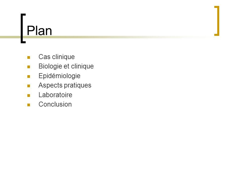 Plan Cas clinique Biologie et clinique Epidémiologie Aspects pratiques