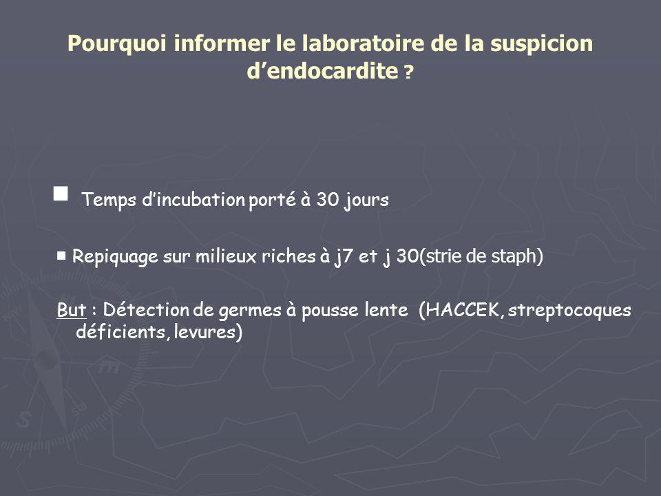 Pourquoi informer le laboratoire de la suspicion d'endocardite