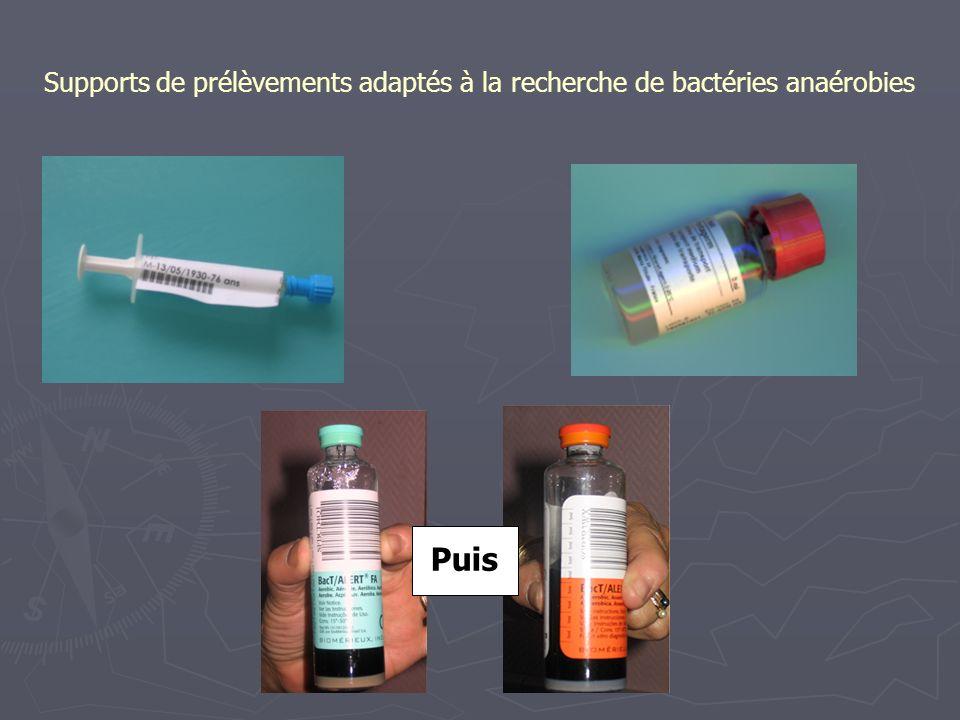 Supports de prélèvements adaptés à la recherche de bactéries anaérobies