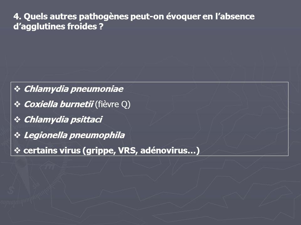 4. Quels autres pathogènes peut-on évoquer en l'absence d'agglutines froides