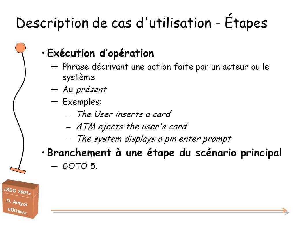 Description de cas d utilisation - Étapes